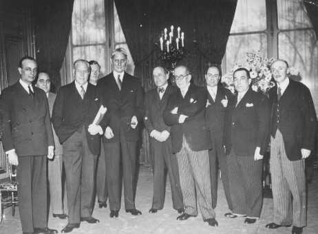 Delegates to the Evian Conference, where the fate of Jewish refugees from Nazi Germany was discussed. US delegate Myron Taylor is third from left. France, July 1938.