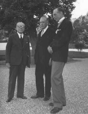The Evian Conference on Jewish refugees. From left to right are French delegate Henri Berenger, United States delegate Myron Taylor, and British delegate Lord Winterton. France, July 8, 1938.
