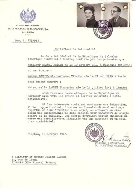 Muchos certificados fueron enviados a judíos que luego adoptaron papeles activos en las operaciones de rescate y resistencia en la Europa bajo ocupación. Este certificado se envió a Julien y Vivette Samuel, líderes de la Sociedad de Ayuda para los Niños (Oeuvre de Secours aux Enfants, OSE) de Francia.