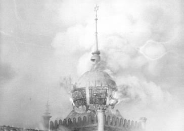 Flames burst forth from the windows of the cupola of the Annaturmstraße synagogue in Euskirchen on the morning after Kristallnacht.<br /><br /><br /><br />