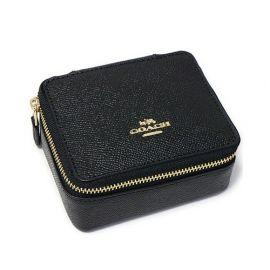 coach f66502 crossgrain leather accessories make up jewelry box black