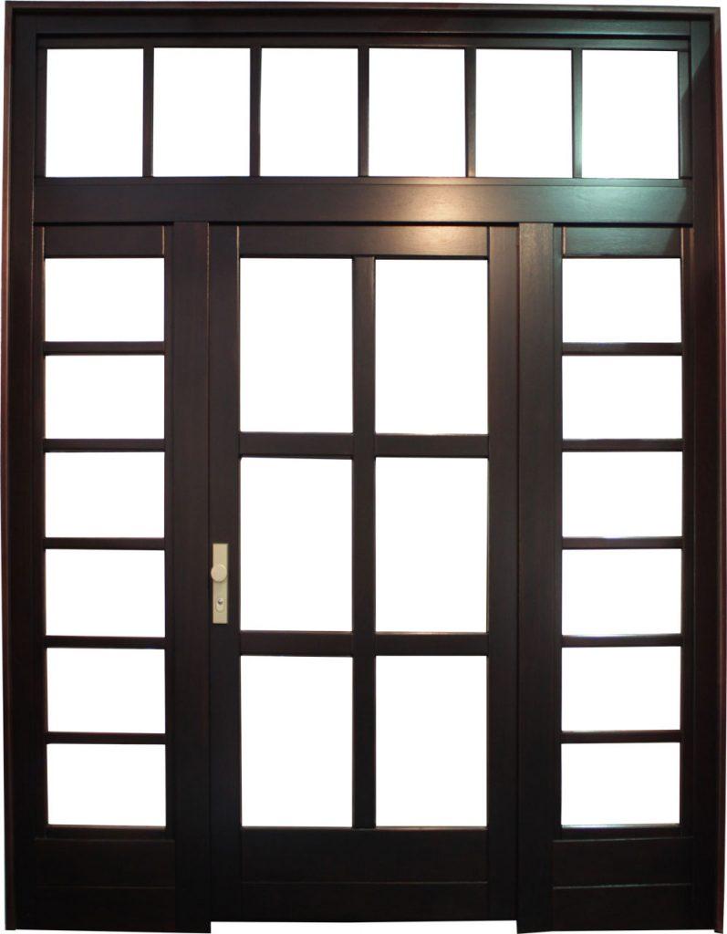Usa de exterior din lemn stratificat cu geam si luminator model AE10