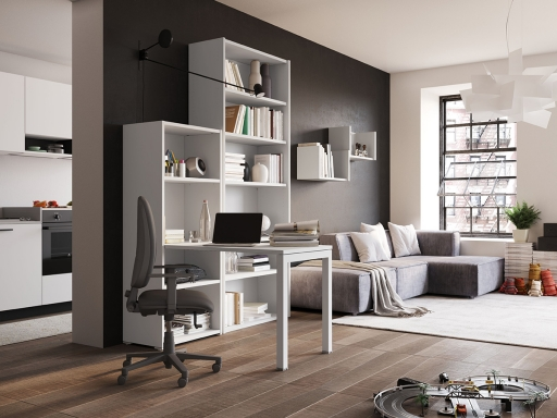 bureau home office avec bibliotheque