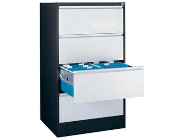 armoire pour dossier suspendus h 1350 noir blanc 4 tiroirs