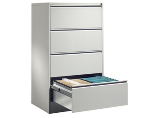 meuble bureau pour dossier suspendus 2 rails 4 tiroirs h 1350 x l
