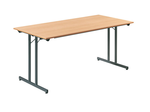 table pliante bureau hetre et anthracite 160x80