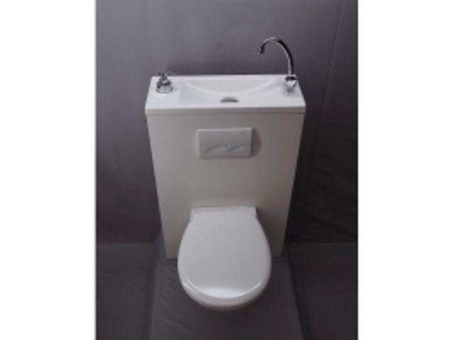 wc suspendu avec lave main integre