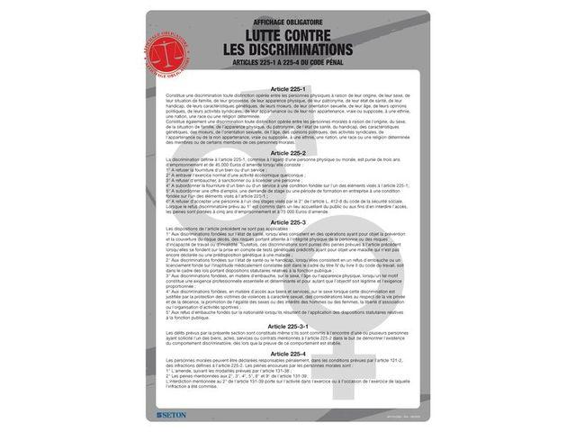 Affichage Obligatoire Sur La Lutte Contre Les Discriminations Contact Seton