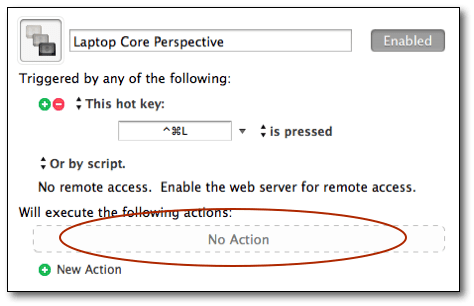 Keyboard Maestro - Select No Action area
