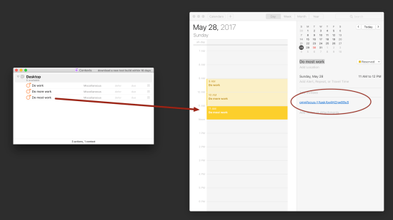 Transferring tasks from Omnifocus to Calendar app