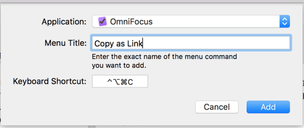 OmniFocus Copy as Link settings in OS X System Preferences