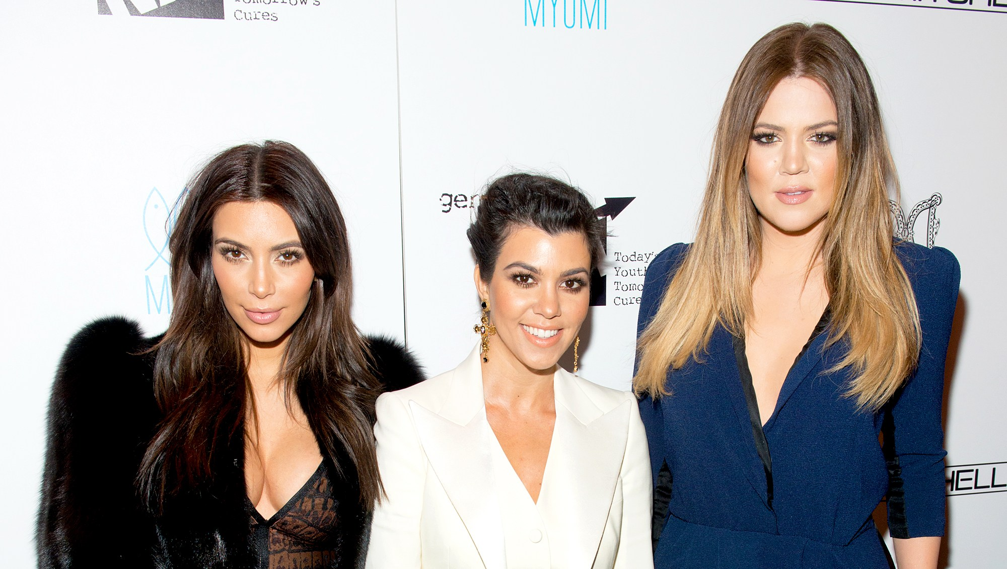 Kim Kardashian, Kourtney Kardashian and Khloe Kardashian attend the Generation NXT Charity Benefit at 1OAK on February 16, 2014 in New York City.
