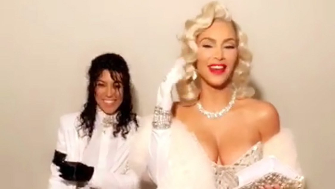 Kourtney Kardashian, Kim Kardashian West, Michael Jackson, Marilyn Monroe, Halloween Costume