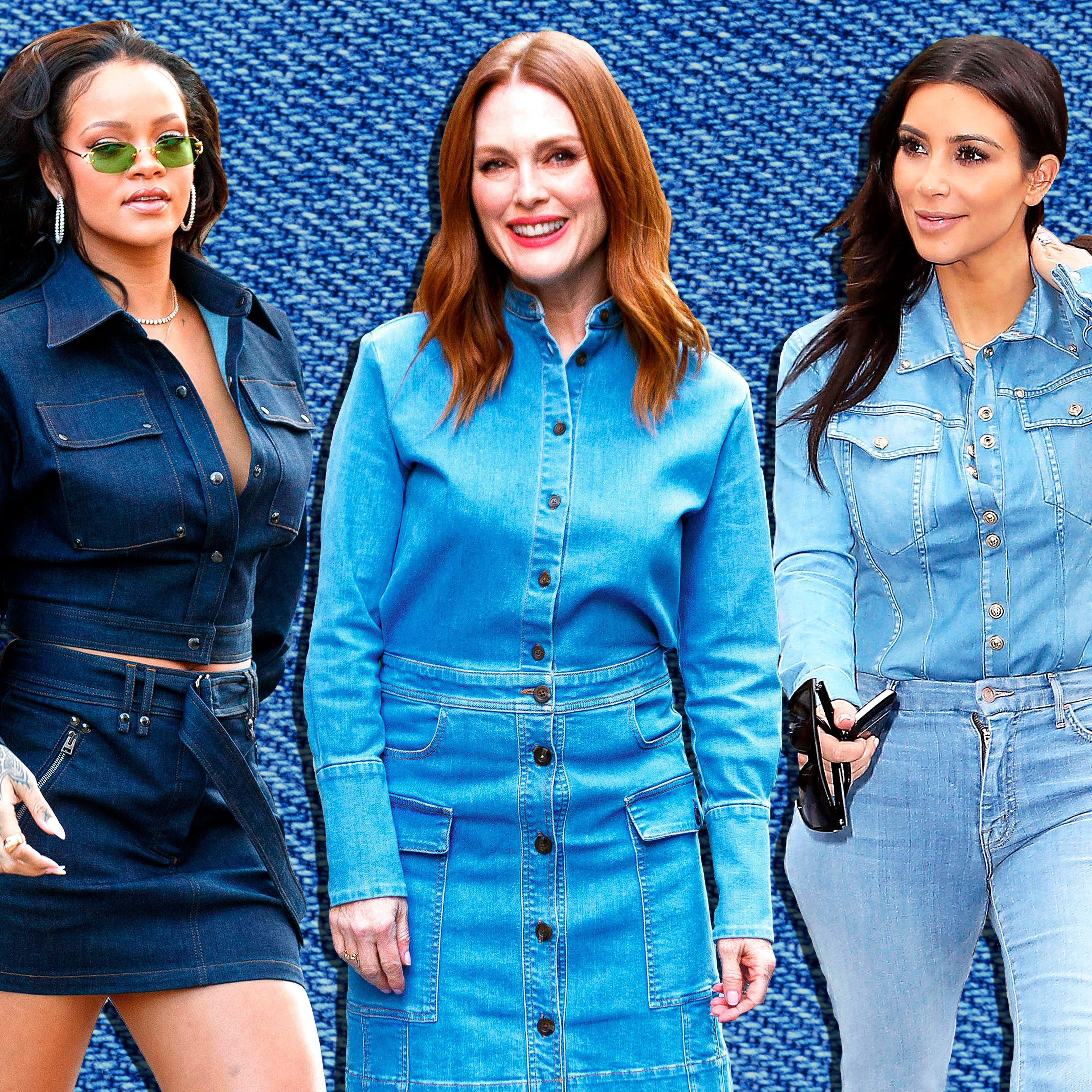 Rihanna, Julianne Moore, Kim Kardashian in denim