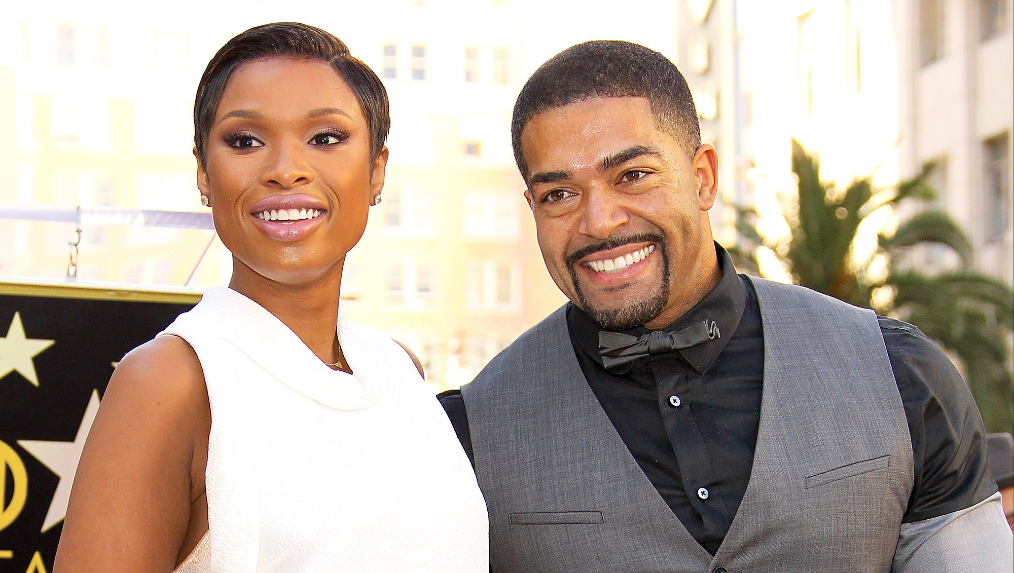 Jennifer Hudson and David Otunga with their son David Daniel Otunga Jr. as she is honored with a Star on The Hollywood Walk of Fame on November 13, 2013 in Hollywood, California.