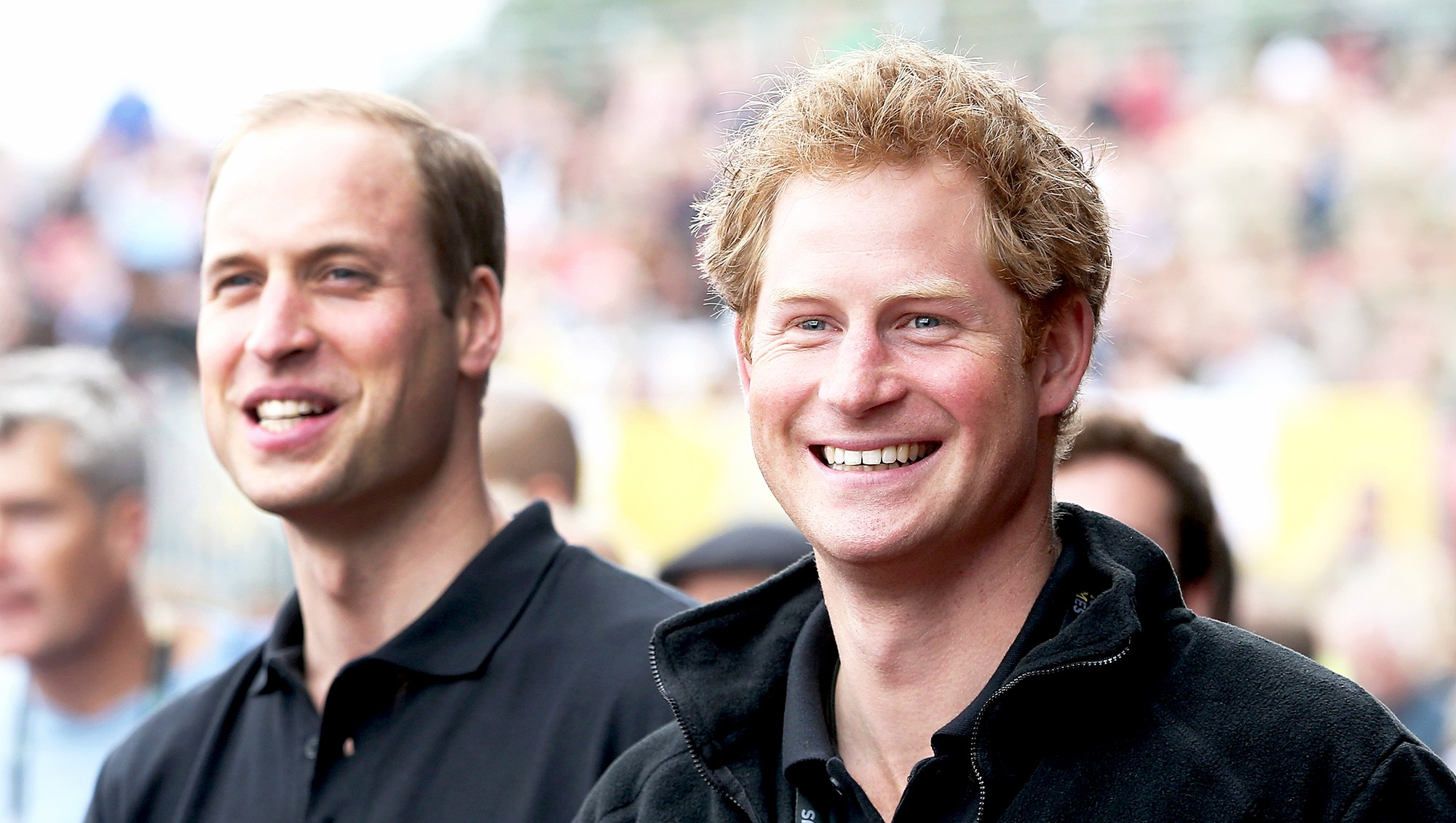 Prince William, Duke of Cambridge and his brother Prince Harry cheers the athletes during the Invictus Games athletics at Lee Valley in London, England.