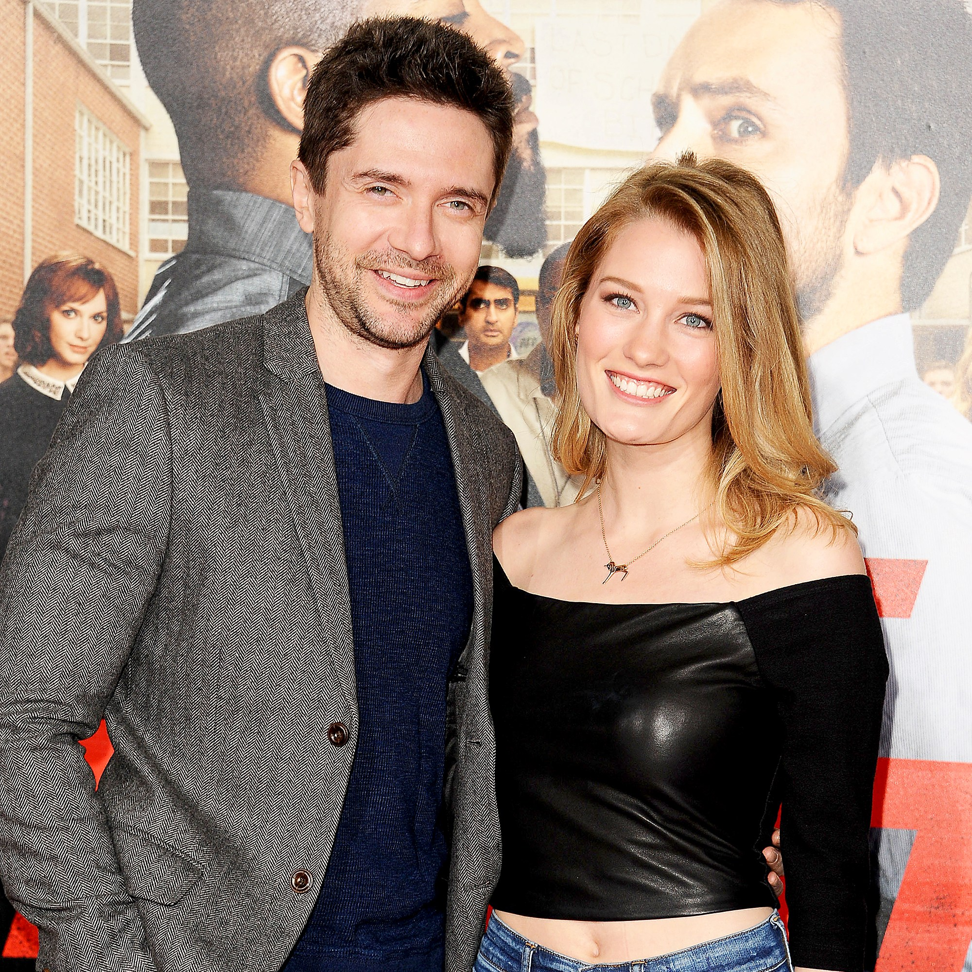 """Topher Grace and wife Ashley Hinshaw attend the premiere of """"Fist Fight"""" at Regency Village Theatre on February 13, 2017 in Westwood, California."""
