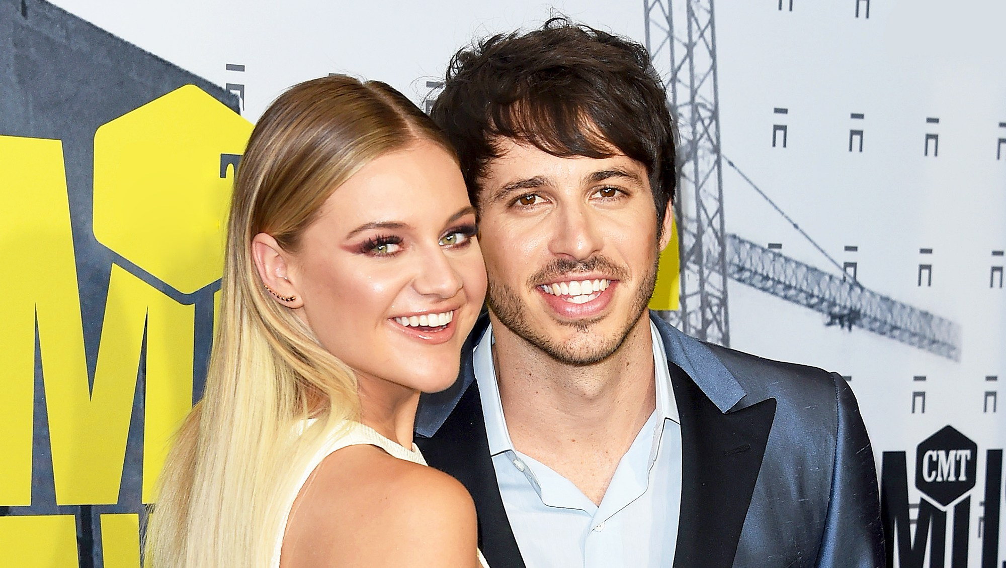 Kelsea Ballerini and Morgan Evans attend the 2017 CMT Music Awards at the Music City Center in Nashville, Tennessee.