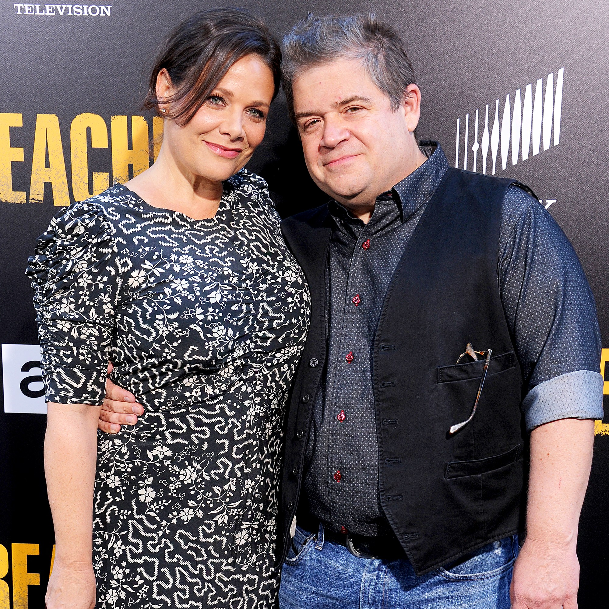 "Patton Oswalt and Meredith Salenger arrive at the premiere of AMC's ""Preacher"" Season 2 at The Theatre at Ace Hotel on June 20, 2017 in Los Angeles, California."