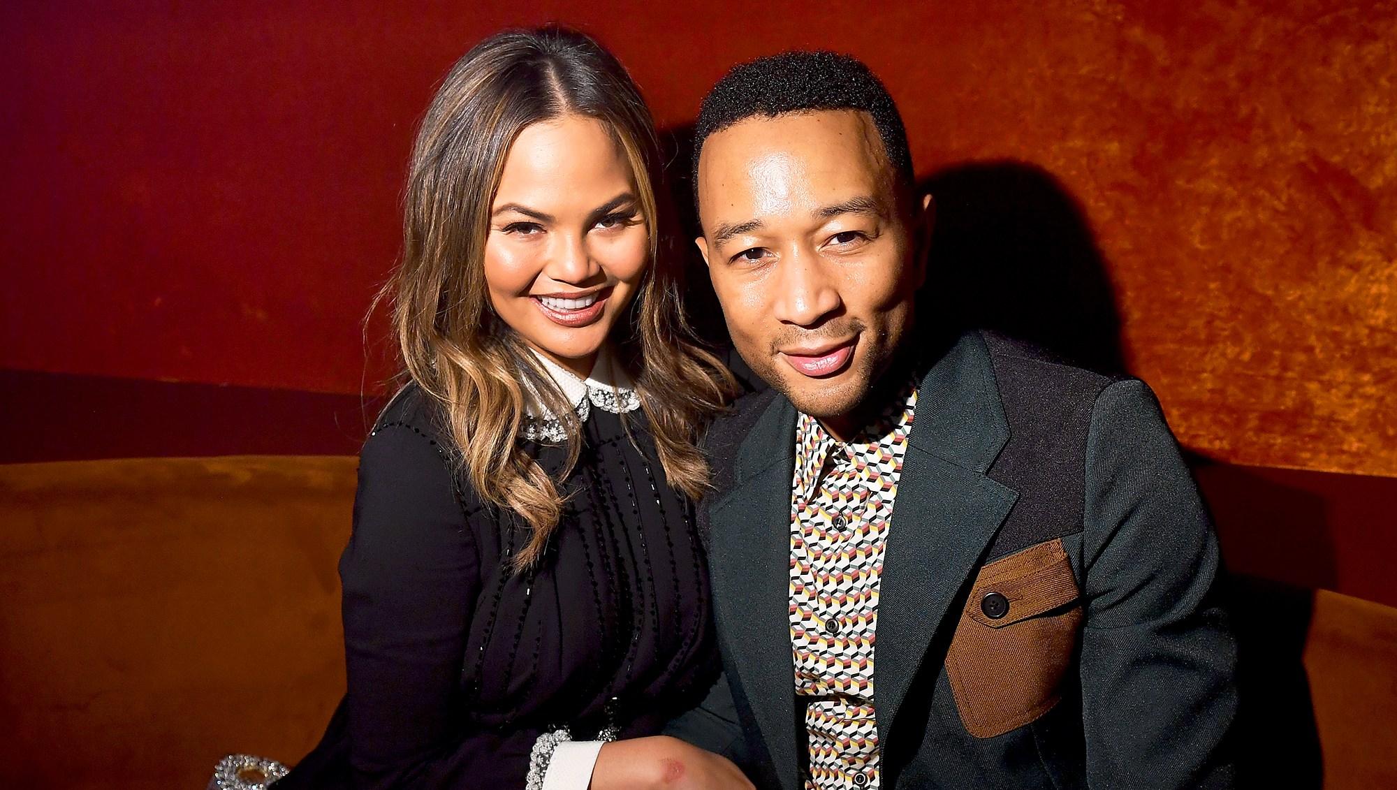 Chrissy Teigen and John Legend attends the Miu Miu aftershow during the Paris Fashion Week at Boum Boum in Paris, France.