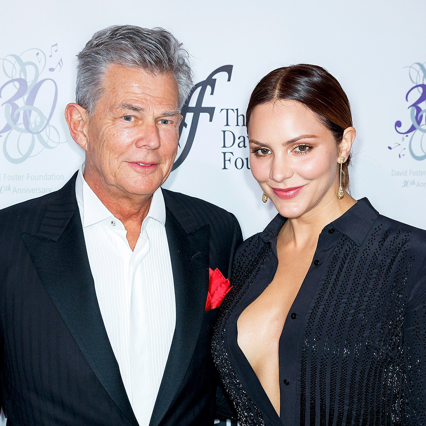David Foster and Katharine McPhee arrive for the David Foster Foundation Gala at Rogers Arena on October 21, 2017 in Vancouver, Canada.