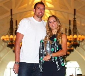 David Lee and Caroline Wozniacki during the BNP Paribas WTA Finals Singapore presented by SC Global at Clifford Pier on October 30, 2017.