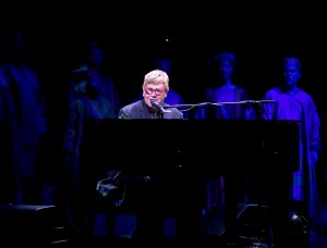 Elton John performing during the Curtain Call for 20th Anniversary Performance of 'The Lion King' on Broadway at The Minskoff Theatre on November 5, 2017 in New York City.