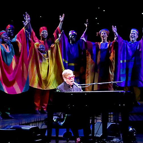 Elton John with the cast performing during the Curtain Call for 20th Anniversary Performance of 'The Lion King' on Broadway at The Minskoff Theatre on November 5, 2017 in New York City.