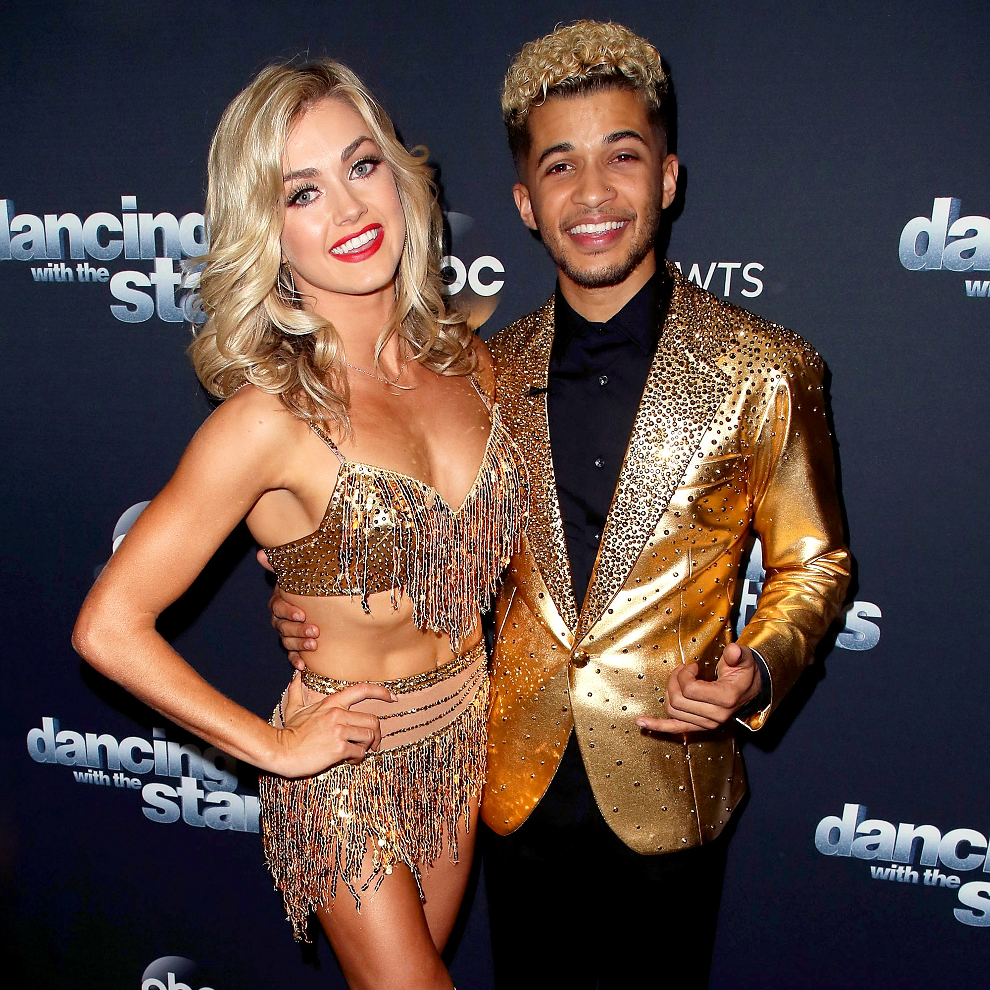 """Jordan Fisher and Lindsay Arnold pose at """"Dancing with the Stars"""" season 25 at CBS Televison City on November 13, 2017 in Los Angeles, California."""