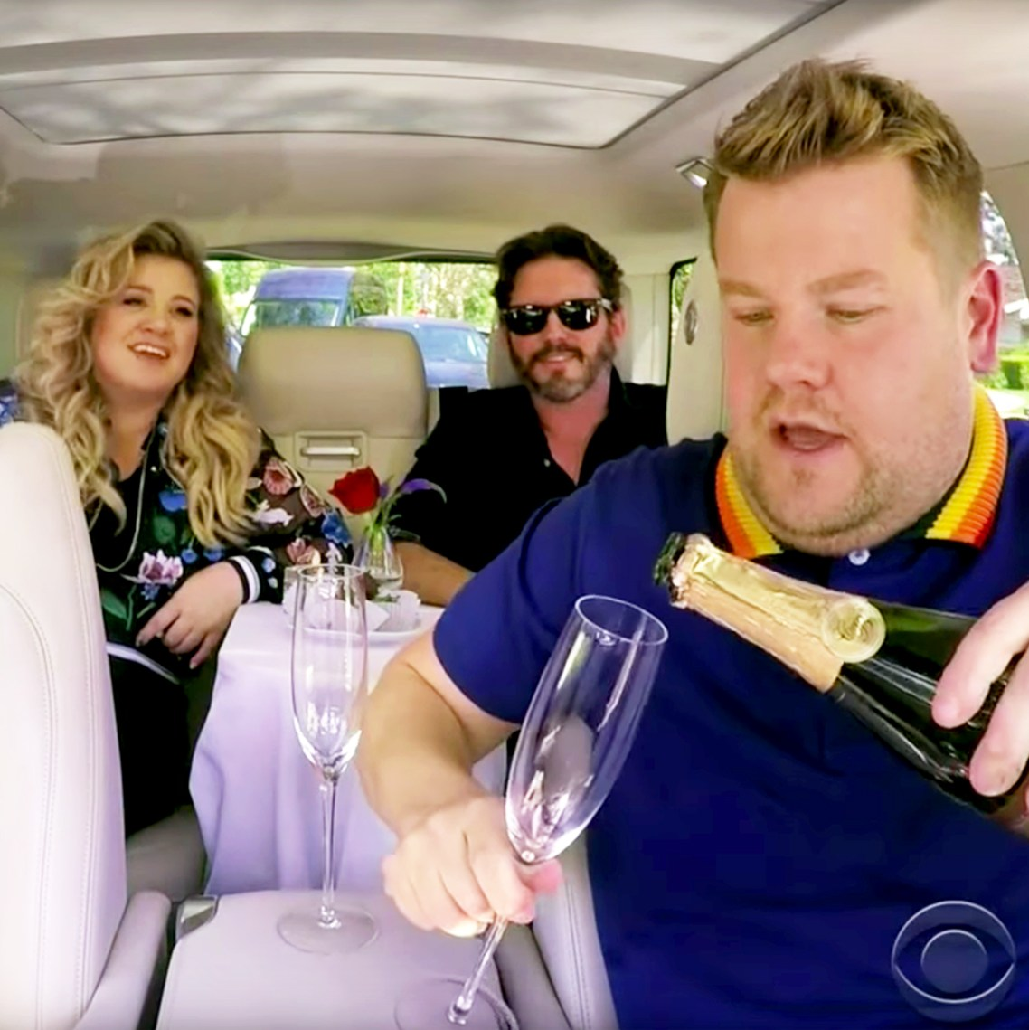 Kelly Clarkson and Brandon Blackstock during Carpool Karaoke with James Corden during 'The Late Late Show with James Corden'