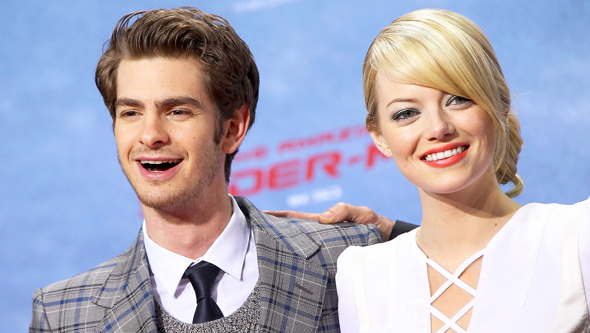 """Andrew Garfield and Emma Stone attend the premiere of """"The Amazing Spider-Man"""" at Sony Center on June 20, 2012 in Berlin, Germany."""