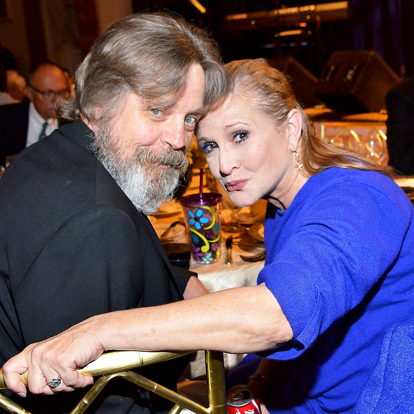 Mark Hamill and Carrie Fisher attend the Midnight Mission's 100 year anniversary Golden Heart Gala held at the Beverly Wilshire Four Seasons Hotel in Beverly Hills, California.
