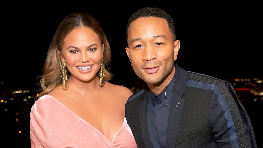 Chrissy Teigen and John Legend attend GQ and Dior Homme private dinner in celebration of The 2017 GQ Men Of The Year Party at Chateau Marmont on December 7, 2017 in Los Angeles, California.