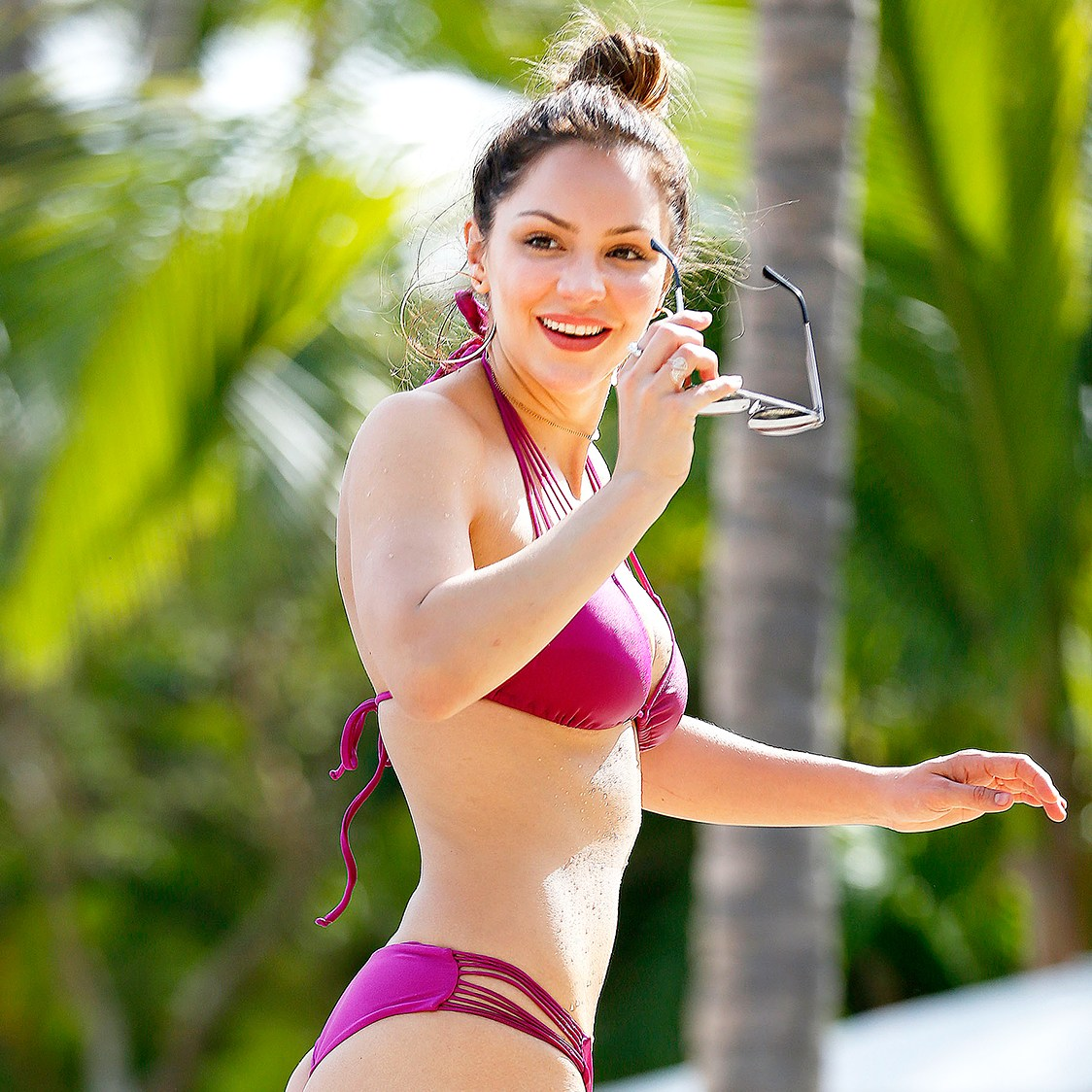 Katharine McPhee purple bikini Mexico