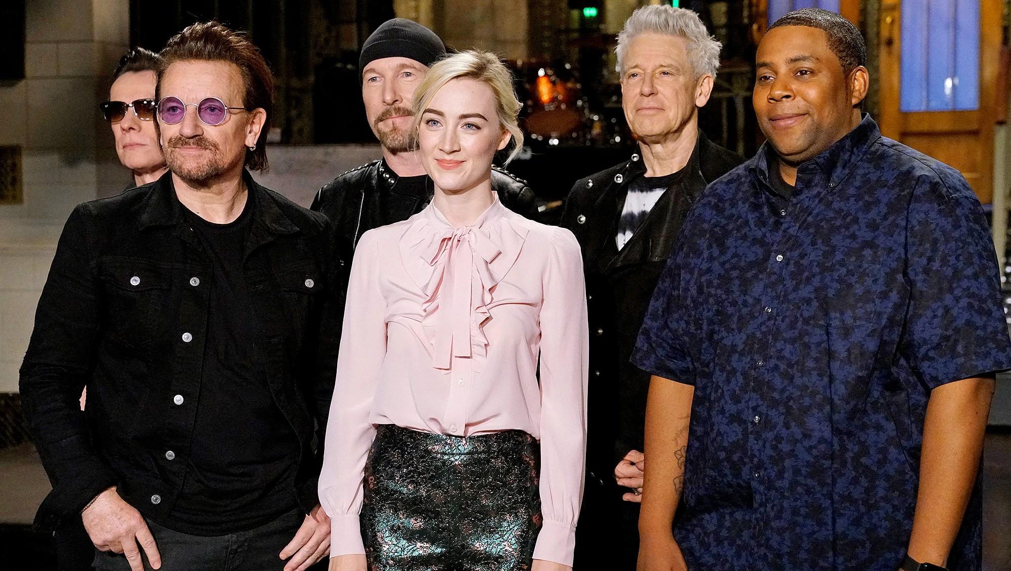 Larry Mullen Jr., Bono, The Edge, Saoirse Ronan, Adam Clayton, Kenan Thompson, U2, Saturday Night Live