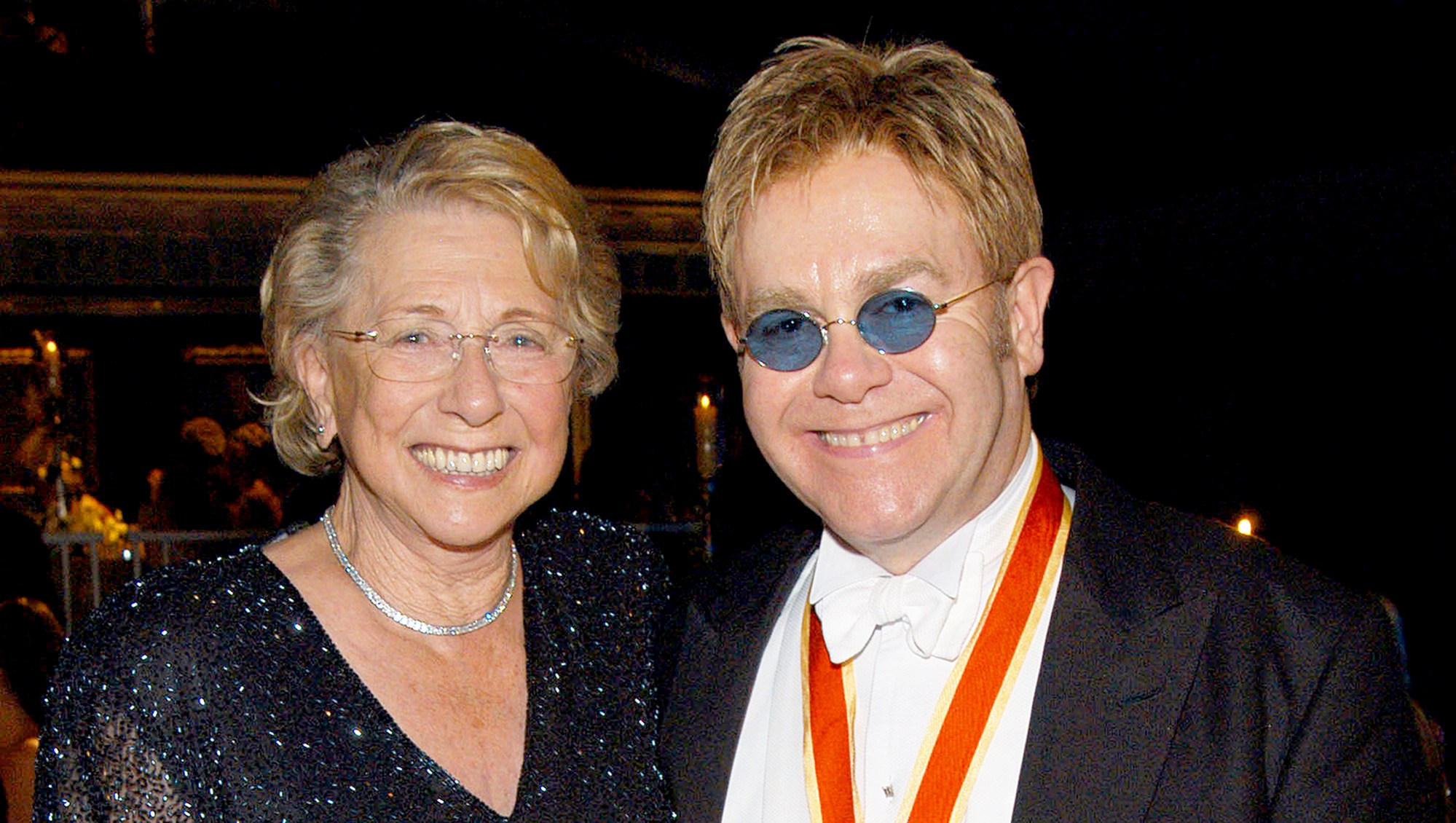 Sir Elton John and his mother Sheila Eileen Farebrother during The Fifth Annual White Tie & Tiara Ball to Benefit the Elton John Aids Foundation in Windsor, England, United Kingdom.