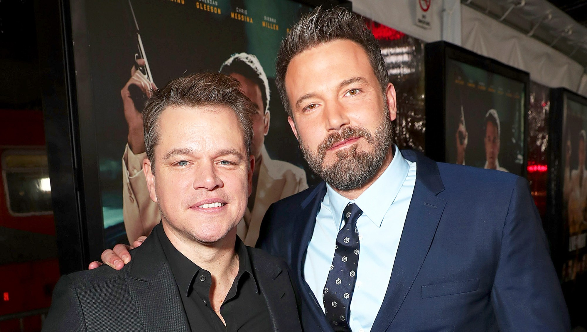 "Matt Damon and Ben Affleck attend the premiere Of Warner Bros. Pictures' ""Live By Night"" at TCL Chinese Theatre on January 9, 2017 in Hollywood, California."