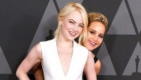Emma Stone and Jennifer Lawrence arrives at the Academy Of Motion Picture Arts And Sciences' 9th Annual Governors Awards in Hollywood, California.
