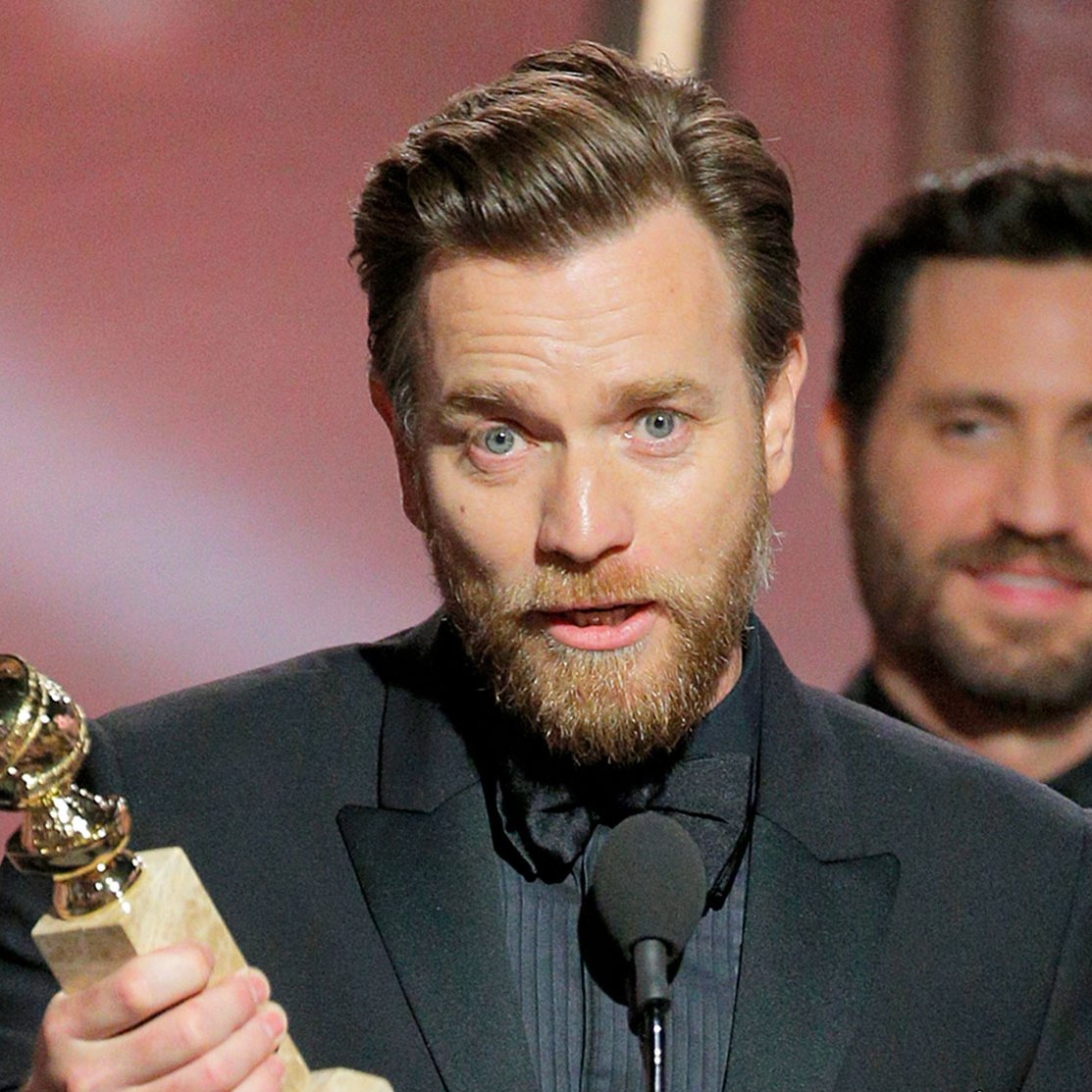 "Ewan McGregor accepts the award for Best Performance by an Actor in a Limited Series or Motion Picture Made for Television for ""Fargo"" during the 75th Annual Golden Globe Awards at The Beverly Hilton Hotel on January 7, 2018 in Beverly Hills, California."