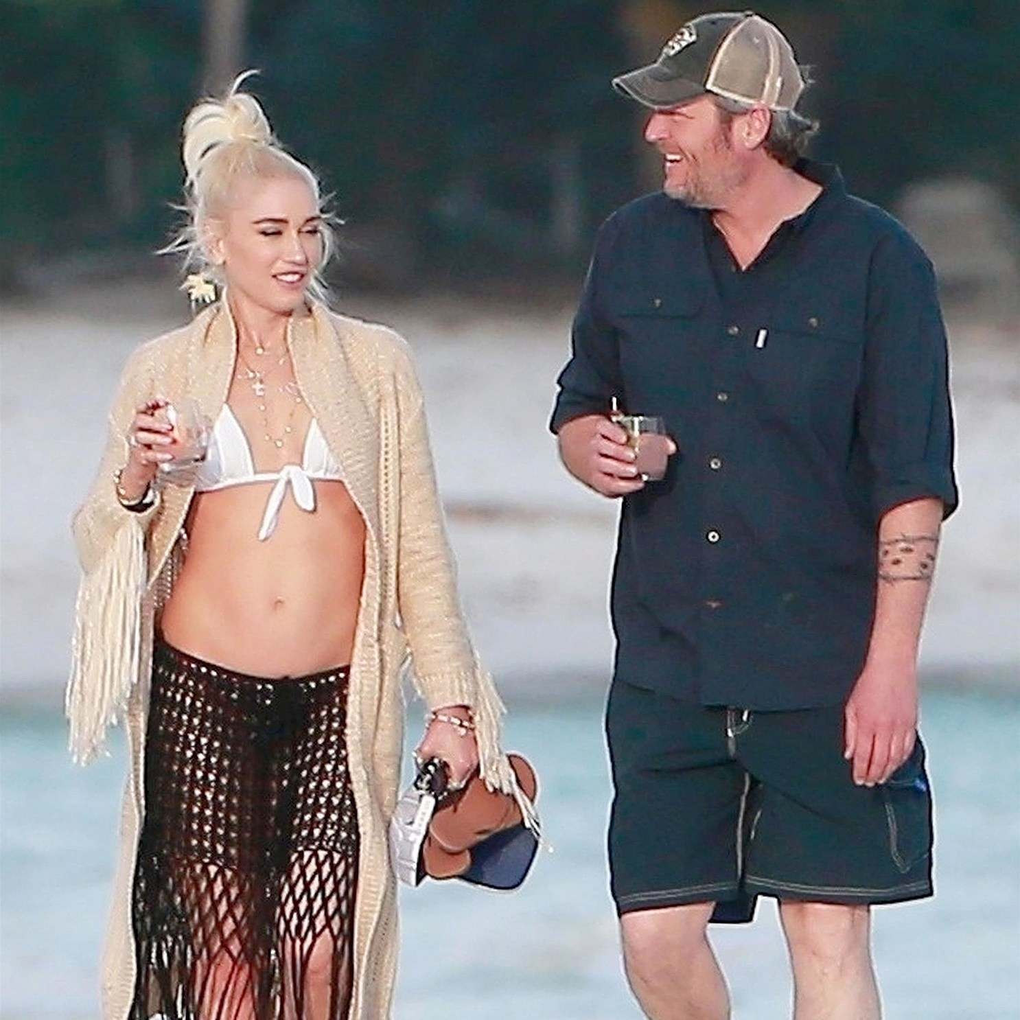 Gwen Stefani, Blake Shelton, Beach, Vacation, Playa del Carmen, Mexico