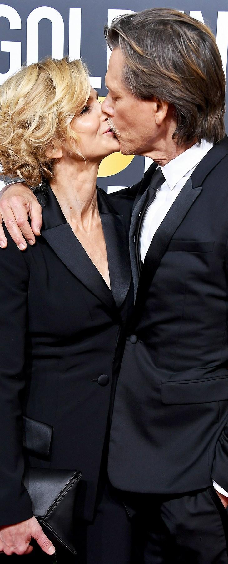 Kyra Sedgwick Kevin Bacon Golden Globes 2018 PDA