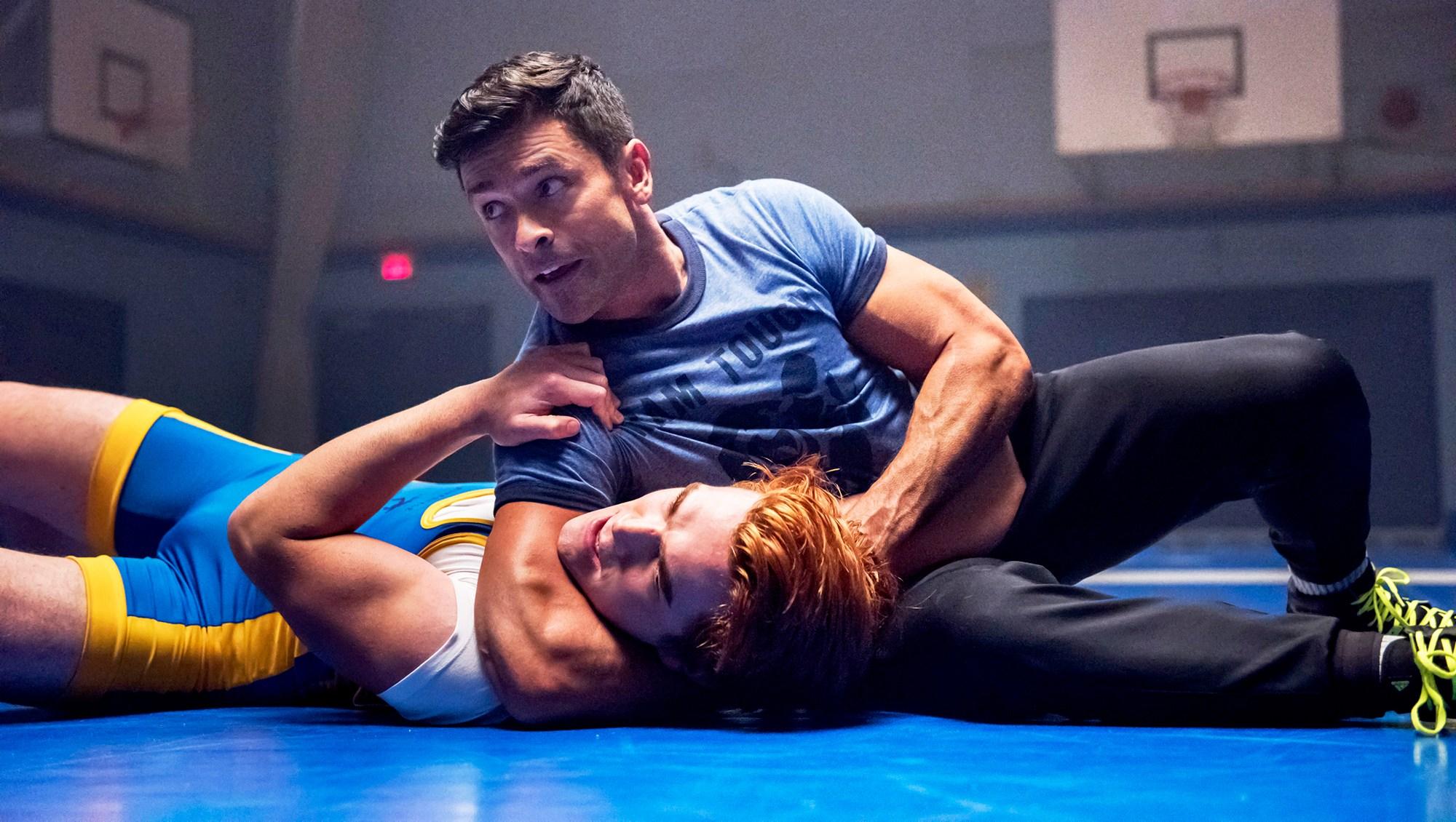 KJ Apa as Archie and Mark Consuelos as Hiram in 'Riverdale'