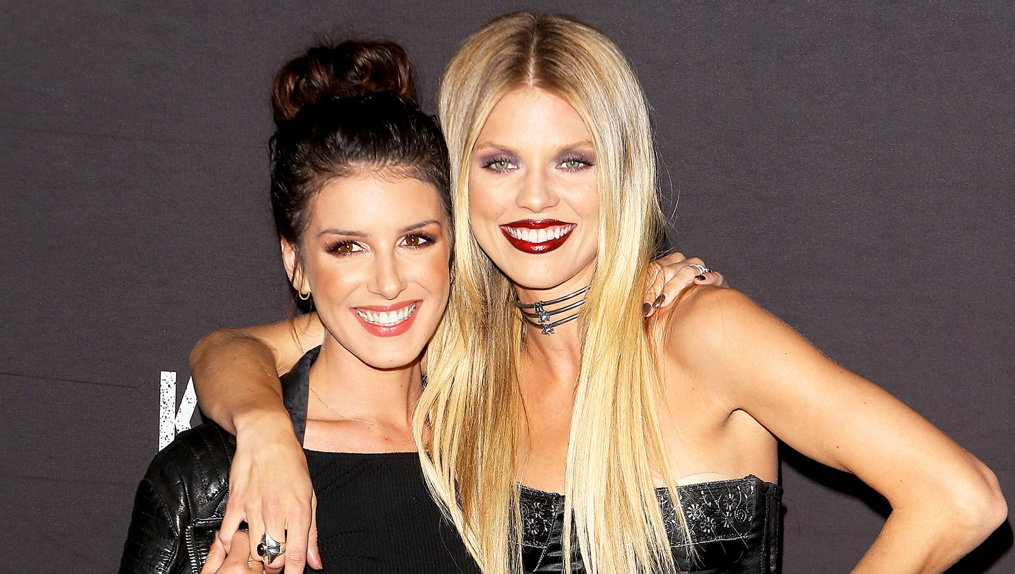 Shenae Grimes and AnnaLynne McCord arrive at the Knott's Scary Farm Black Carpet 2016 Event held at Knott's Berry Farm in Buena Park, California.