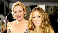"""Kim Cattrall and Sarah Jessica Parker attend 2008 premiere of """"Sex and the City: The Movie"""" at Radio City Music Hall in New York City."""