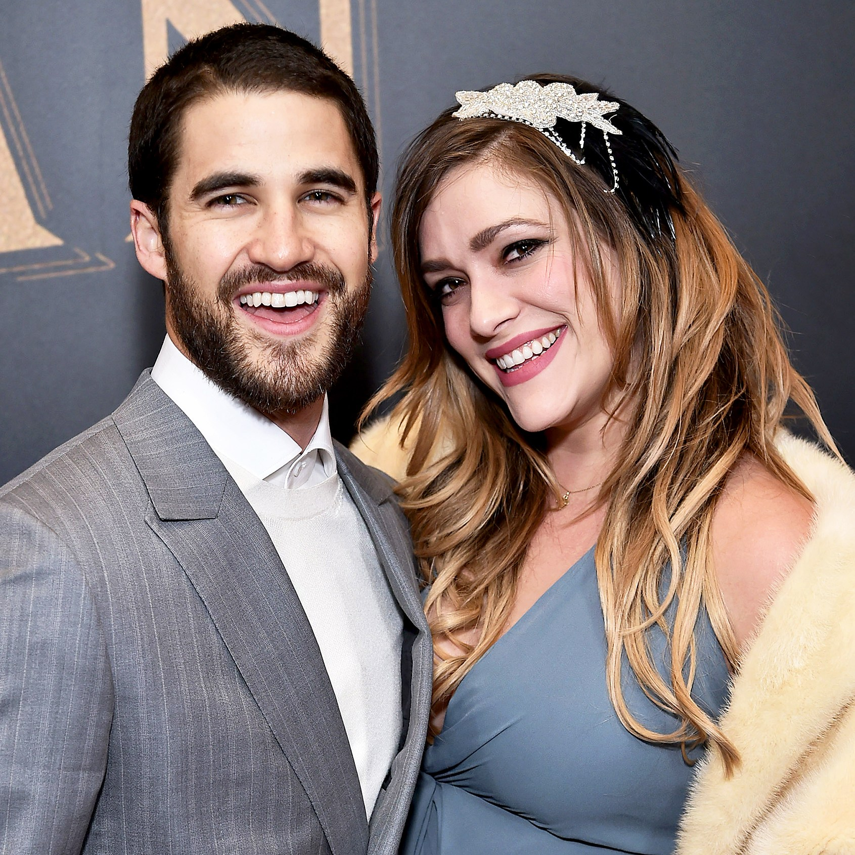 Darren Criss and Mia Swier attend 'The Greatest Showman' World 2017 Premiere aboard the Queen Mary 2 at the Brooklyn Cruise Terminal in New York City.