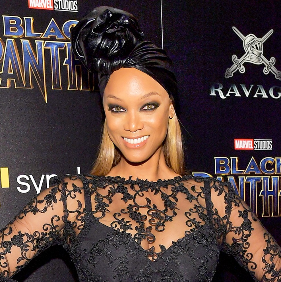 "Tyra Banks attends the screening of Marvel Studios' ""Black Panther"" hosted by The Cinema Society on February 13, 2018 in New York City."