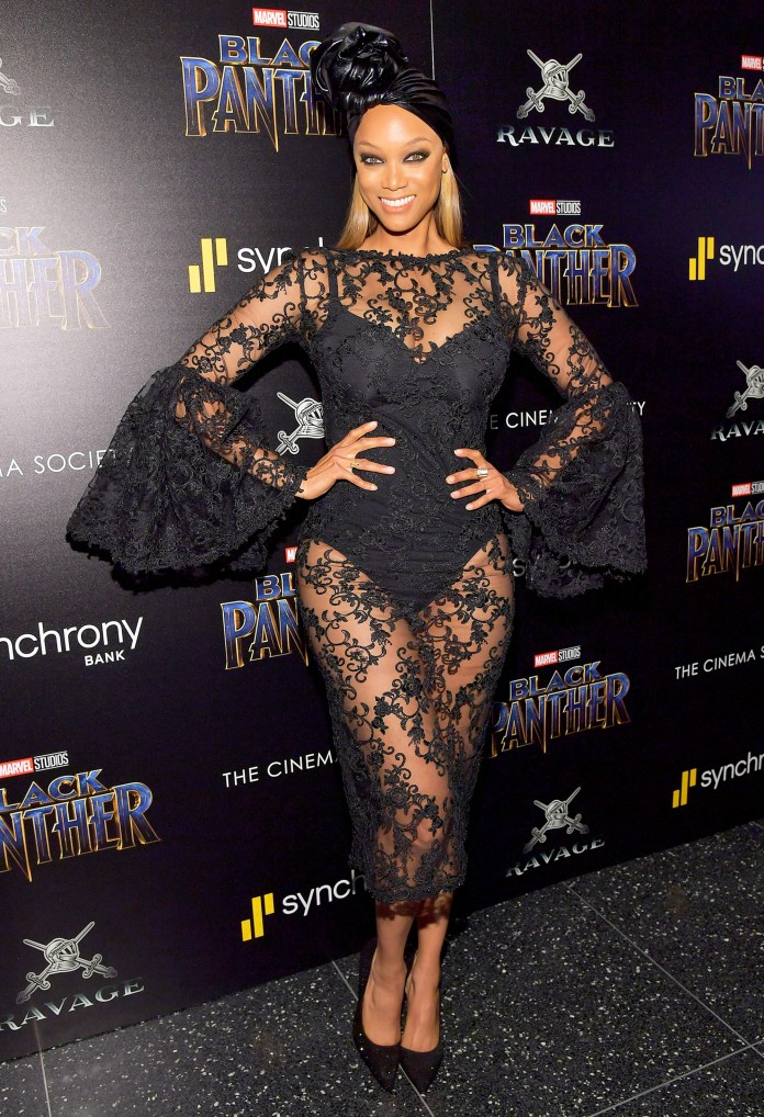 """Tyra Banks attends the screening of Marvel Studios' """"Black Panther"""" hosted by The Cinema Society on February 13, 2018 in New York City."""