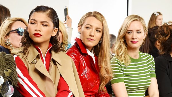 Zendaya, Blake Lively and Emily Blunt attend the Michael Kors Collection Fall 2018 Runway Show at Vivian Beaumont Theatre at Lincoln Center on February 14, 2018 in New York City.