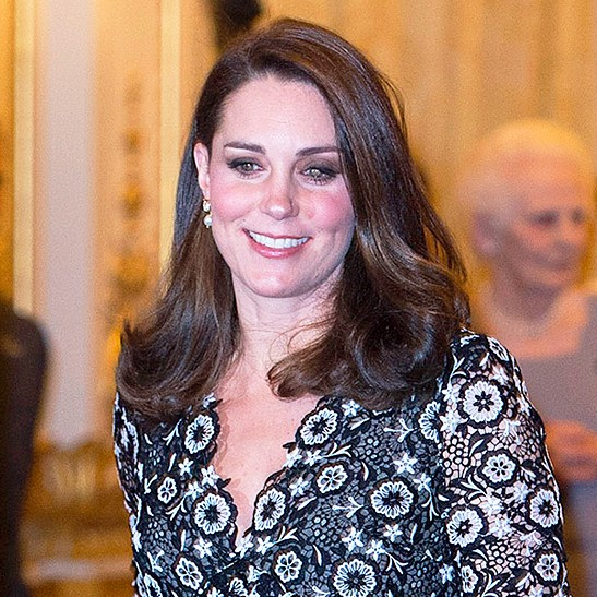 Kate, Duchess of Cambridge attends The Commonwealth Fashion Exchange Reception at Buckingham Palace on February 19, 2018 in London, England.