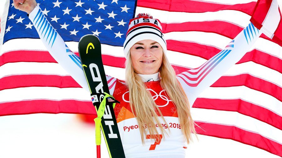 Bronze medallist Lindsey Vonn of the United States celebrates during the victory ceremony for the Ladies' Downhill on day 12 of the PyeongChang 2018 Winter Olympic Games at Jeongseon Alpine Centre on February 21, 2018 in Pyeongchang-gun, South Korea.